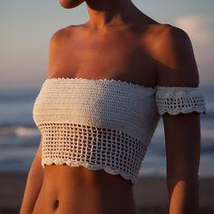 Cheap tank top, Buy Quality tank top crop directly from China tank bra Suppliers: Sexy Knitted Crochet White Crop Tops Bikini Beachwear Girls Lace Up Off Shoulder Bikini Bra Tank Top Cropped Bikinis Crochet, Crochet Bikini Top, Crochet Woman, Crochet Lace, Crochet Tops, Crochet Fashion, Crochet Clothes, Bikini Tops, Beachwear