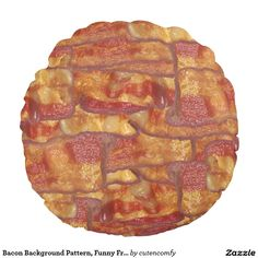 Bacon Background Pattern, Funny Fried Food Round Pillow