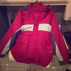 Red coat with hood- youth large Warm winter coat youth large. small tear in hood shown in last pic Cherokee Jackets & Coats