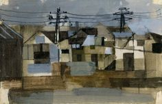 Houses with Telegraph Poles 1952 in KEITH VAUGHAN from The Redfern Gallery