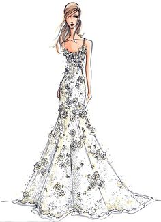"""One of my favourite designers for sketches: Amsale. This is for her 2011 Christos gown """"Celeste"""""""