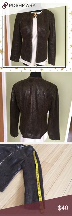 Chicos Faux Leather Jacket BROWN REPTILE PRINT. BEADS AND TRIM AROUND THE NECKLINE . Large hook and eye closure as shown. No defects. Offers welcome. No trade Chico's Jackets & Coats