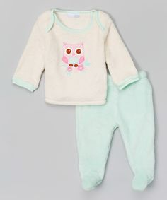 Loving this Ivory Owl Velour Appliqué Top & Mint Footie Pants - Infant on #zulily! #zulilyfinds