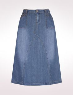 Women's | Denim | Denim Skirts | Embroidered Pocket Denim Skirt | dressbarn