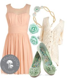 """Gathering of Gals Dress"" by modcloth ❤ liked on Polyvore...so classy & feminine"