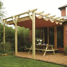 These free pergola plans will help you build that much needed structure in your backyard to give you shade, cover your hot tub, or simply define an outdoor space into something special. Building a pergola can be a simple to… Continue Reading → Diy Pergola, Store Pergola, Pergola Retractable, Backyard Canopy, Pergola Garden, Garden Canopy, Diy Canopy, Pergola Canopy, Canopy Outdoor
