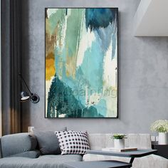 Modern Abstract Painting acrylic green and blue paintings on canvas art Wall Pictures extra large modern framed wall art original painting - Modern Abstract Painting acrylic green and blue paintings on Modern Framed Art, Large Framed Wall Art, Frames On Wall, Blue Abstract Painting, Acrylic Painting Canvas, Abstract Paintings, Acrylic Art, Large Abstract Wall Art, Mandala Painting