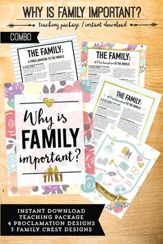 hy is family important?  August Come Follow me package.  9 amazing learning activities to help you dive into The Family Proclamation.  Plus BEAUTIFUL prints!