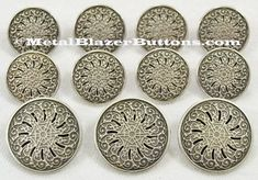Antiqued Silver Metal GEOMETRIC FILIGREE Shank Style Sport Coat Blazer Button Set by metalblazerbuttons. Explore more products on http://metalblazerbuttons.etsy.com