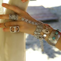 Silver Plated Boho Adjustable Women Hand Chain Bracelet Palm Harness Jewelry with Finger Ring -- Want to know more, click on the image. #JewelryDesign