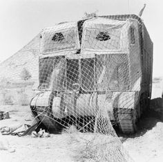 BRITISH ARMY NORTH AFRICA 1942 (E 12291)   A Grant tank wearing 'Sun Shield' lorry camouflage in the Western Desert, May 1942.