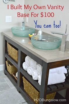 DIY Open Shelf Vanity With Free Plans and tutorial to build a vanity. Would look fantastic as a kitchen island too! www.H2OBungalow.com