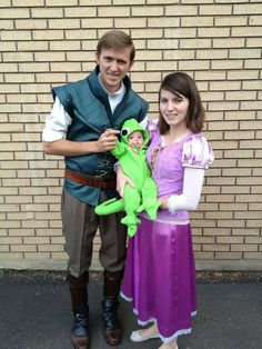 "Tangled cosplay  ""This is my beautiful niece Leah and her parents!  Leah was born down syndrome.  She brings the most beautiful spirit to our family!  We just love her to death!  For Halloween my sisters made the whole family Tangled costumes!  Dad is Flynn Rider, Mom is Repunzel, and Leah is Pascal!""- inevitabletiva"