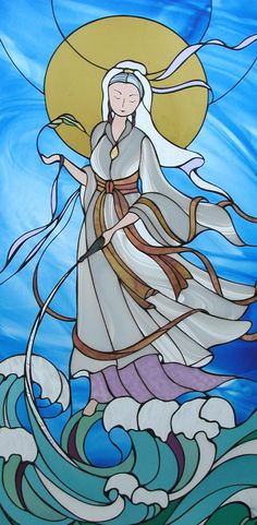 Goddess stained glass by Atmospheric Glass