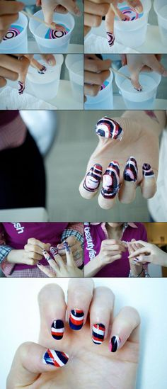 Not too crazy bout the straight circle pattern but how to do the Water Marble Nail manicure