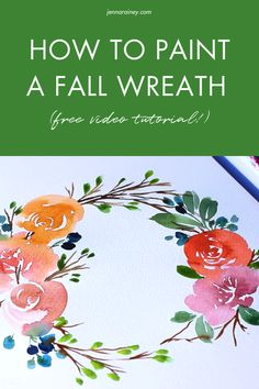 How to paint a fall wreath with a free video tutorial! Learn how to paint the perfect wreath in this fall watercolor wreath tutorial! If you're in the fall mood, grab a PSL (if you're into that kinda thing) and learn how to paint a beautiful loose-style floral watercolor wreath with an autumnal vibe. Wreath Watercolor, Easy Watercolor, Watercolour Tutorials, Watercolor Design, Watercolor Techniques, Floral Watercolor, Happy Little Trees, Step By Step Watercolor, Wreath Tutorial