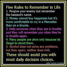 Funny pictures about Rules To Remember In Life. Oh, and cool pics about Rules To Remember In Life. Also, Rules To Remember In Life photos. Free Advice, Good Advice, Great Quotes, Funny Quotes, Inspirational Quotes, Motivational Messages, Quotable Quotes, Funniest Quotes, Quotes Pics