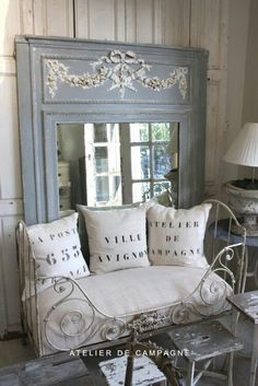 grey and cream, home make pillows like these...