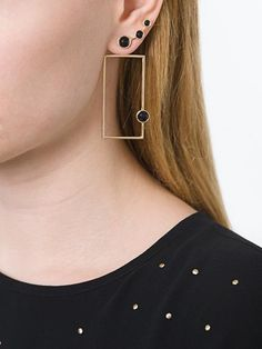 Eshvi cabochon rectangular earrings | Architect's Fashion