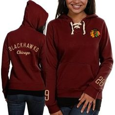 Old Time Hockey Chicago Blackhawks Ladies Red Queensboro Lace-Up Pullover Hoodie Sweatshirt