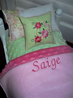 American Girl Doll Bedding Personalized by Dollbeddingboutique, $39.99