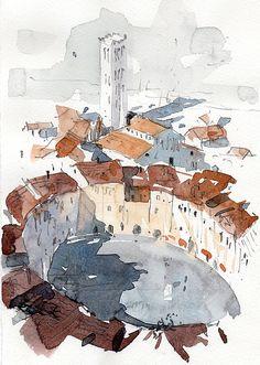 Lucca Italy 3 Print by Tony Belobrajdic