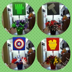 Avengers Centerpieces i made for my sons bday party!!!! I love them❤️❤️
