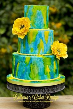 Blue and yellow painted cake