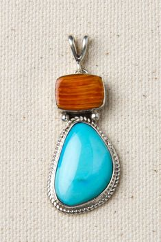 Orange Spiny Oyster and Turquoise Sterling Silver Drop Pendant | Silver Eagle Gallery