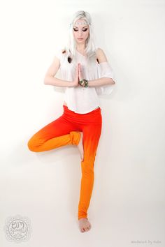 Hand Dip Dyed Ombre Orange Red Yoga Leggings Pants. $50.00, via Etsy.