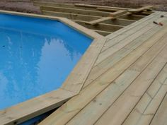 This particular rectangular pool is an extremely inspirational and fantastic ide… - trophy. Above Ground Pool Decks, Above Ground Pool Landscaping, In Ground Pools, Pool Rails, Pool Deck Plans, Swimming Pool Decks, Pool Finishes, Diy Pool, Pool Fun