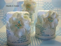 Jewel Encrusted Hand Piped Lace Patterned Cake