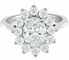 Bespoke Diamonds Dublin - oval flower diamond engagement ring VR1019-1 set in white gold