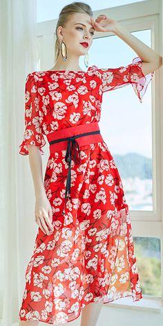 add27c0fb1 Fashion Floral O-Neck Flare Sleeve Lacing Skater Dress