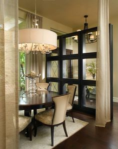 Dining room - beautiful room divider | Sheryl Bleustein Interiors via Luxe Interiors+Design