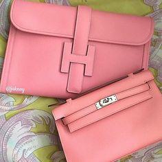 Hermès pink Jigé clutch & Kelly pochette