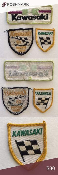 Vintage KAWASAKI patches 3 vintage KAWASAKI patches  2 of the 3 are USED  1 of the 3 is NEW never used  Vintage 70's KAWASAKI motorcycle logo embroidered cloth sew on patches kawasaki Accessories