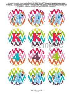 DIY 2 inch round Rainbow dash My Little Pony birthday party cupcake toppers/stickers. $6.00, via Etsy.  | followpics.co