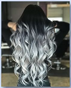 ▷ 1001 + ombre hair ideas for a cool and fun summer look - long wavy hair, black to platinum blonde, ash blonde ombre, black top - Cute Hair Colors, Pretty Hair Color, Beautiful Hair Color, Hair Dye Colors, Hair Color For Black Hair, Ombre Hair Color, Ombre Hair Dye, Pastel Ombre Hair, Fun Hair Color