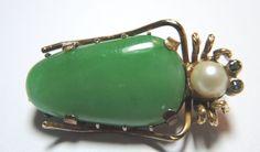 Antique Jade Grasshopper Pin Hallmark LW20 14K Yellow Gold Antique Art Deco Fine #Handmade