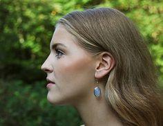 Cornflower blue chalcedony drop earrings by Rosehip Jewelry on Etsy