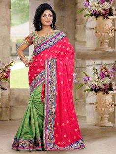 Pink And Pista Green Poly Viscose Saree With Butta Work www.saree.com