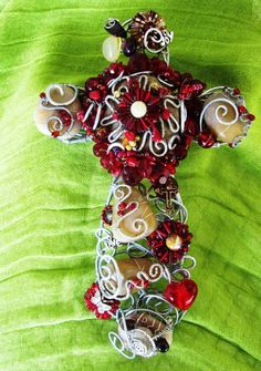 Red and Stone Wired Wrapped Wall Cross by LeighAnnsCreations, $48.00