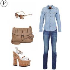 Denim & Plataformas: Vestir partiendo de un total denim look es como partir de un lienzo en blanco, todo vale.