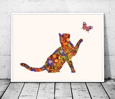Instant Download, Cat Print, Cat Art, Nursery Art, Baby Girl Nursery, Something Different, Cat Lover Gift, Red and Blue, Floral Print Botanical Prints, Floral Prints, Art Prints, Nursery Art, Girl Nursery, Cat Lover Gifts, Cat Lovers, Cat Art Print, Blue Cats