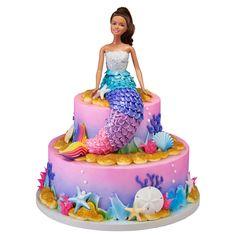 H-E-B 2 Tier Mermaid Barbie Cake by - birthday Cake White Ideen Barbie Birthday Cake, Mermaid Birthday Cakes, 3rd Birthday Cakes, Barbie Party, Princess Birthday, Birthday Ideas, Barbie Cake Designs, Mermaid Barbie, Elsa Mermaid
