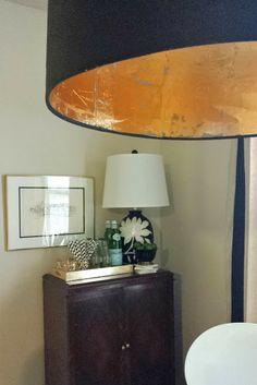 DIY: Gold Leafing a lampshade  http://cohesiverandomness.blogspot.com/2013/11/diy-gold-leafing.html