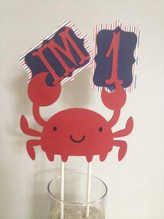 Nautical Themed Birthday Banner Crab Anchor Sailboat by MiaSophias