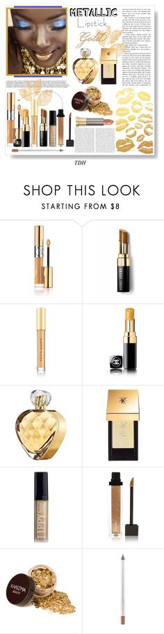 """Gold Lip"" by talvadh ❤ liked on Polyvore featuring beauty, Yves Saint Laurent, Bobbi Brown Cosmetics, Kevyn Aucoin, Chanel, Elizabeth Arden, Butter London, Jouer, MAC Cosmetics and Oris"