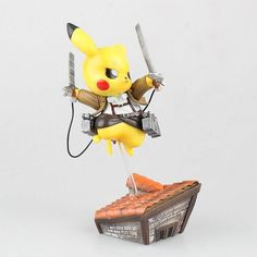 """Picture wall maria being torn down by the colossal titan as Eren yells from a distance, """"Pikachu, I choose you!"""" Next thing you hear is """"pika pika"""" as Pikachu lands next to Eren to protect the last of humankind. Yeah, sounds exciting right? Well if you think so, this PVC Figure will definitely be at home with you."""